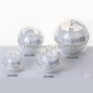 Hũ hình cầu trong suốt, nắp kim cương 1J51