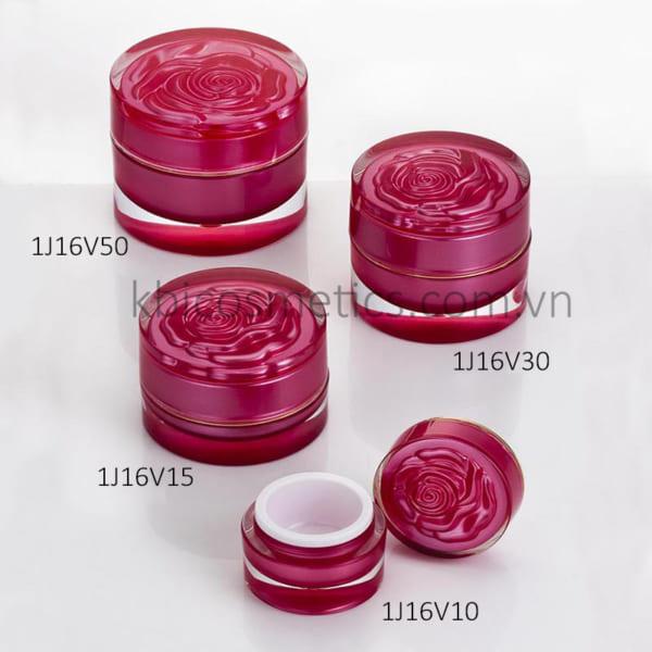 Hũ tròn, nắp hoa hồng 1J16